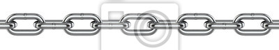 Naklejka Metal chain links. 3d rendering illustration isolated on white background.
