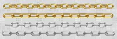 Naklejka Metal chain of silver, chrome, steel or golden links. Border with connected stainless rings. Straight heavy grey, yellow decorative elements isolated on transparent background realistic 3d vector set