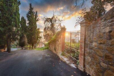 Naklejka metalowa brama w murze z cegły słońca w tle.