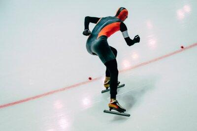 Naklejka mężczyzn sportowiec prędkości sprint łyżwach. łyżwiarstwie szybkim w pomieszczeniu