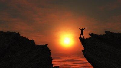 Naklejka Mężczyzna na szczycie góry