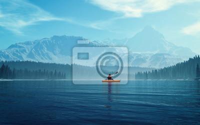 Naklejka Mężczyzna z kajakiem na jeziorze
