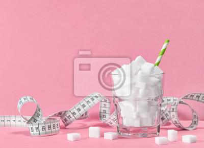 Naklejka Miarka cukru szklanego taśma pomiarowa Dieta kontroli wagi