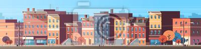 Naklejka miasto budynek domy widok skyline tło nieruchomości słodkie miasto koncepcja poziomy baner płaski ilustracji wektorowych