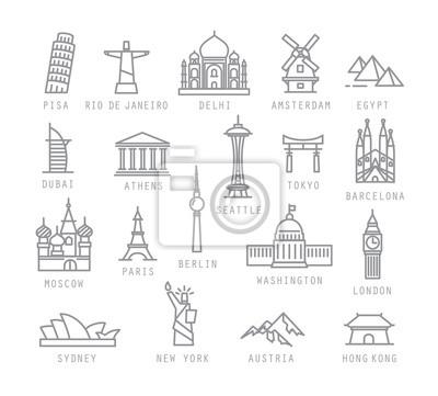 Naklejka Miasto płaskie ikony