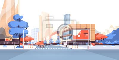 Naklejka Miasto ulicznego drogowego drapacza chmur budynki przeglądają nowożytnego pejzażu miejskiego w centrum billboard reklamuje horyzontalną płaską wektorową ilustrację