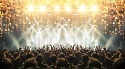 Naklejka Miejsce koncertowe przepełnione klaszczącymi fanami. Efekty zagrożenia i flary są widoczne