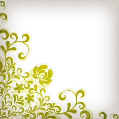 Naklejka Miękkie zielonym tle kwiatów