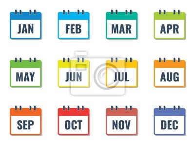 Naklejka miesiąc nazwa w kalendarzu, kolorowy płaski styl ilustracji wektorowych