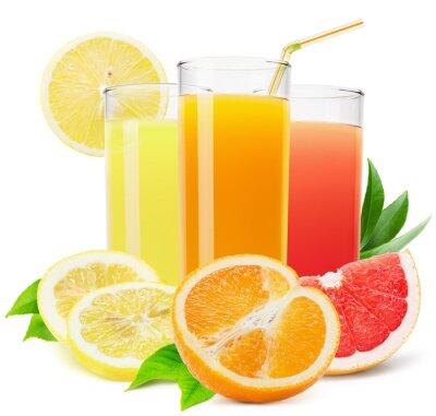 Naklejka mieszanka soków owocowych samodzielnie na białym tle