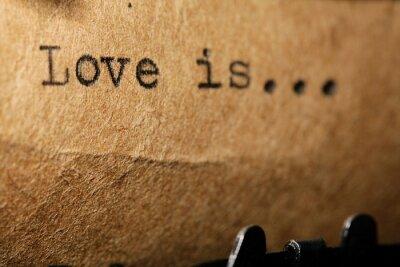 Naklejka miłość, napis na maszynie