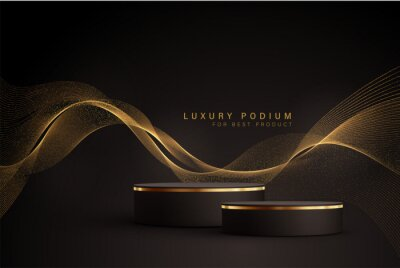 Naklejka Minimal black scene with golden lines. Cylindrical gold and black podium on a black background. 3D stage for displaying a cosmetic product