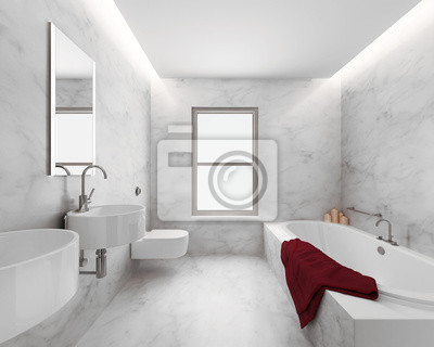 Minimal Elegancki Luksus łazienka Ręcznik Czerwony Biały Marmur Naklejki Redro