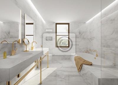 Minimal Elegancki Luksus łazienka Złota Białego Marmuru Naklejki Redro