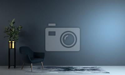 Naklejka Minimal living room and blue wall texture background interior design / 3D rendering