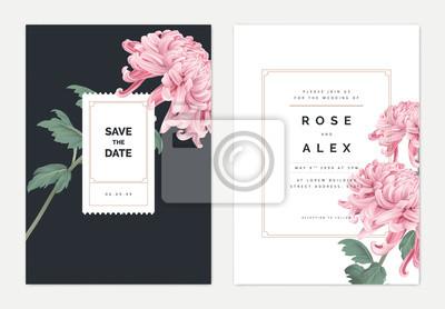Naklejka Minimalist floral wedding invitation card template design, pink Chrysanthemum morifolium flower with leaves, vintage theme
