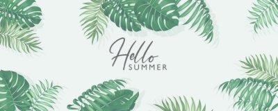 Naklejka Minimalist summer banner design with tropical leaves theme