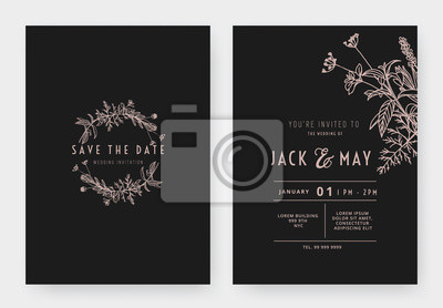 Naklejka Minimalist wedding invitation card template design, circle floral wreath, line art ink drawing in pink and dark grey tones