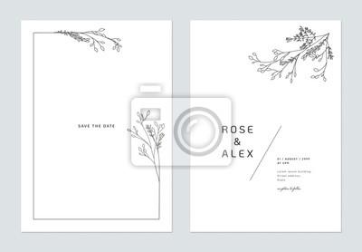 Naklejka Minimalist wedding invitation card template design, floral black line art ink drawing bouquet decorated on line frame on white