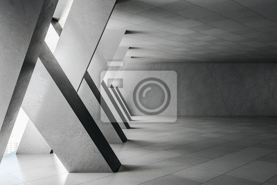 Naklejka Minimalistic concrete interior with columns