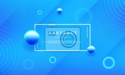Naklejka Minimalne streszczenie geometryczne niebieskie tło z niebieską piłkę. Modny niebieski gradient tło wektor.