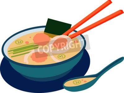 Naklejka Miska wietnamskiej zupy Pho z pałeczki i łyżka.