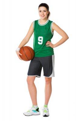 Naklejka Młoda dziewczyna koszykarz