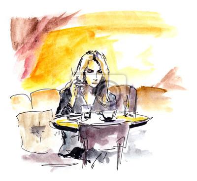 Młoda kobieta w kawiarni siedzi przy stole z kubkiem kawy, szkic