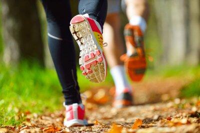 Naklejka Młoda para jogging w parku w godzinach porannych. Zdrowie i fitness.