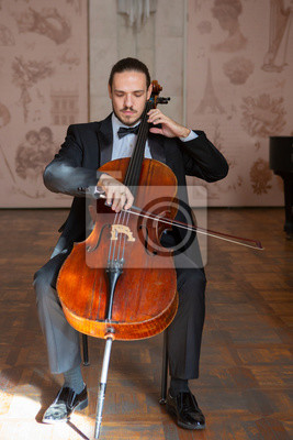 Naklejka Młody człowiek gra na wiolonczeli. Portret wiolonczelisty