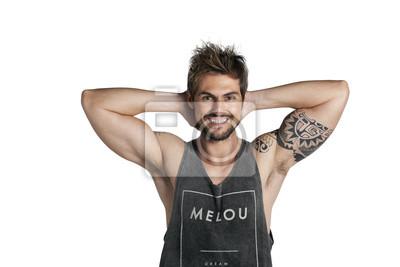 Naklejka Młody Człowiek Z Tatuażem Na Biceps Portret Na Wymiar