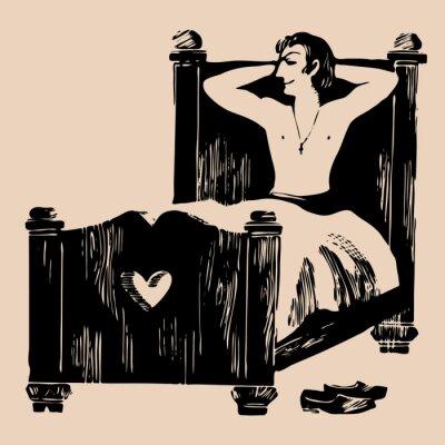 Naklejka Młody mężczyzna w łóżku akwaforta