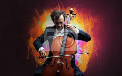 Naklejka Młody muzyk klasyczny z kolorową tapetą splotch