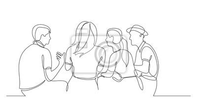 Naklejka młodzi przyjaciele siedzą i rozmawiają razem - jeden rysunek linii