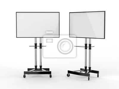 Naklejka Mobilny pusty biały ekran Wózek na telewizor Wózek na stojaki Wyświetlacz wystawowy LED. 3d odpłacają się ilustrację.