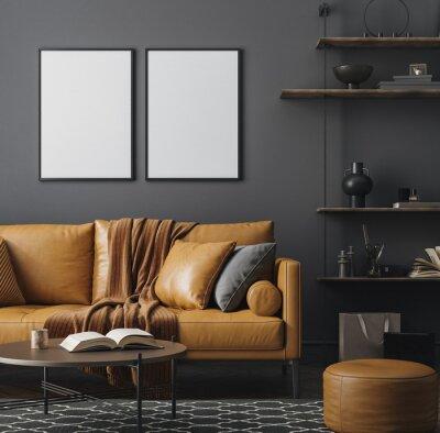 Naklejka Mockup frame close up in loft interior background, 3d render