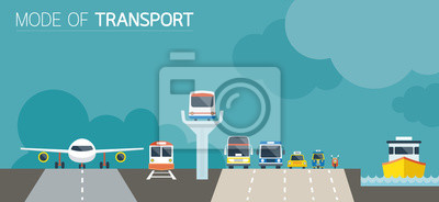 Naklejka Mode of Transport Illustration Icons Objects Front View
