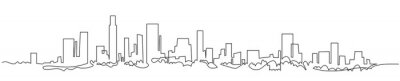 Naklejka Modern cityscape continuous one line vector drawing. Metropolis architecture panoramic landscape. New York skyscrapers hand drawn silhouette. Apartment buildings isolated minimalistic illustration