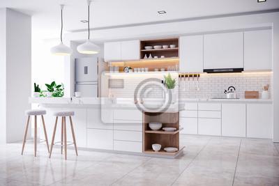 Naklejka  Modern Contemporary white kitchen room interior .3drender