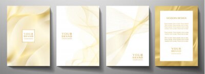 Naklejka Modern cover design set. Gold abstract line pattern (guilloche curves) in premium gold color. Luxury golden stripe vector layout for business background, certificate, brochure template
