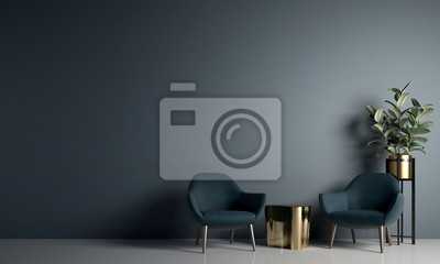 Naklejka Modern cozy living room and blue wall texture background interior design / 3D rendering