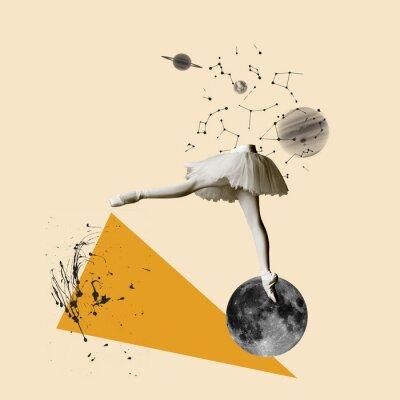 Naklejka Modern design, contemporary art collage. Inspiration, idea, trendy urban magazine style. Female legs dancing on moon on geometrical background