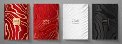Naklejka Modern elegant cover design set. Luxury fashionable background with line pattern in gold, black, red, silver color. Elite premium vector template for menu, brochure, flyer layout, presentation