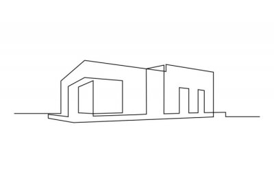Naklejka Modern flat roof house or commercial building in continuous line art drawing style. Minimalist black linear sketch isolated on white background. Vector illustration
