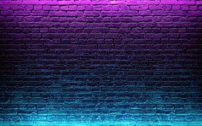 Naklejka Modern futuristic neon lights on old grunge brick wall room background. 3d rendering