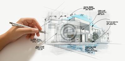 Naklejka Modern high end architecture project evolution