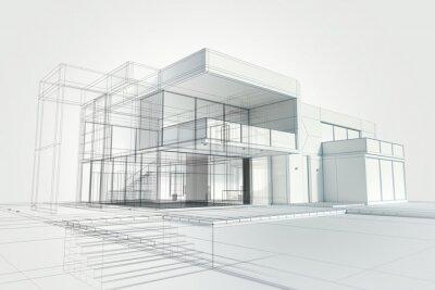 Naklejka Modern house abstract rendering