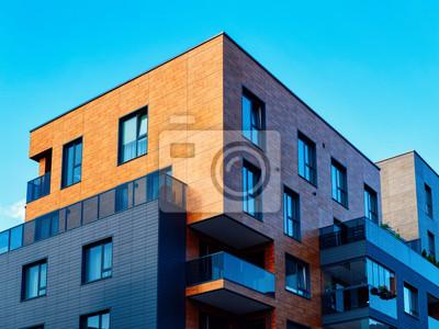 Naklejka Modern new apartment flat building architecture