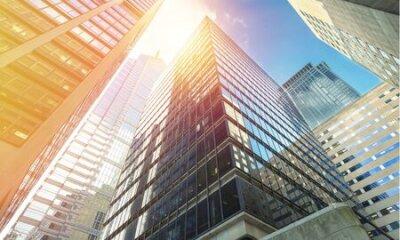 Naklejka Modern office buildings in city