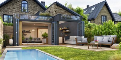 Naklejka Modern patio outdoor with swimming pool. Modern house interior and exterior design